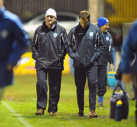 Finn Harps manager Ollie Horgan, with senior coach James Gallagher, on Friday night.