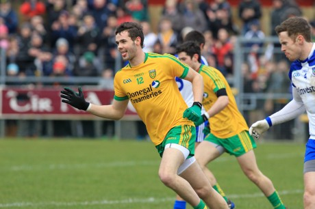 Odhrán Mac Niallais celebrates scoring Donegal's first goal against Monaghan.
