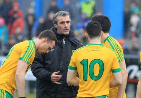 Jim McGuinness issues instructions to his players.