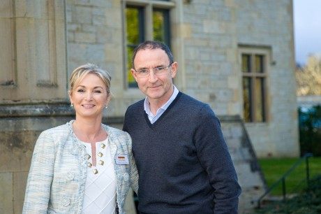 Martin O'Neill arriving at the Pramerica Spirit of the Community Awards at Solis Lough Eske, pictured with CEO Caroline Faulkner.