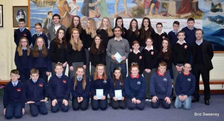 Tommy Martin, TV3, who officially launched the book at Rosses Community School on Friday pictured with first year, ty students and Principal, Mr John Gorman.