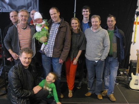 Members of Goats Don't Shave pictured with Gary and Carleen Gallagher, Maghery, and their daughter Lucy, following fund-raising concert at Ionad Spoirt na Rosann, Dungloe on St Patrick's Day.