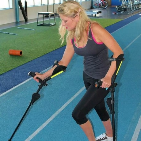 The Fighter tests her new crutches