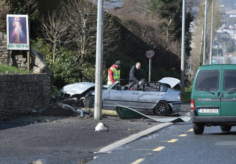Gardai at the scene of the inciident on the Derry Road, Letterenny.