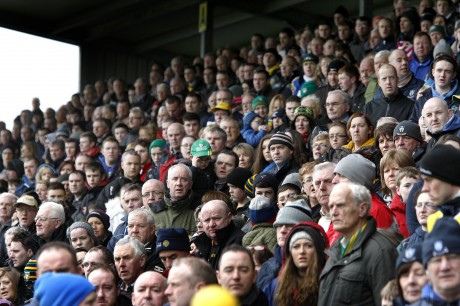 Supporters await the start of the crunch National Football League fixture between Donegal and Monaghan at O'Donnell Park, Letterkenny, on Sunday.