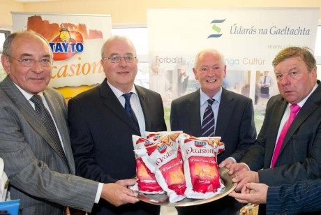 John Lowery, Acting CEO Údarás na Gaeltachta, Liam OCuinneagan, former Údarás Chairman, Dinney McGinley, minister of State at the Department of Arts, Heritage and the Gaeltacht  and Ray Coyle, CEO Largo Foods at the launch of the new snack food line in Largo Foods,  √ödar√°s na Gaeltachta Business Park, Gaoth Dobhair, Donegal by Dinney McGinley, minister of State at the Department of Arts, Heritage and the Gaeltacht.
