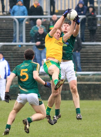 Neil Gallagher wins the high ball against Meath.