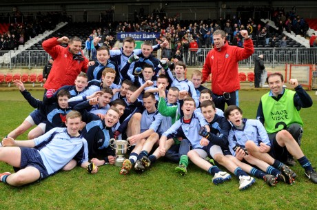 PCC Falcarragh, celebrate after winning the Arthurs Cup, defeating St Marks, Warrenpoint, in the final at Healy Park, Omagh, on Wednesday.