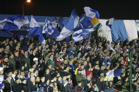 A packed Town End terrace at Finn Park for the play-off against Waterford United in November 2007.