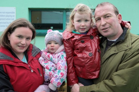 Kieran Murray with his wife Olivia and daughters Grace and Chloe.