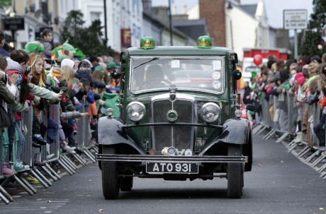 Fergus Cleary drives his vintage Morris at the parade.
