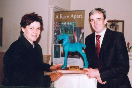 Marina making a presentation to horse racing legend Ruby Walsh.