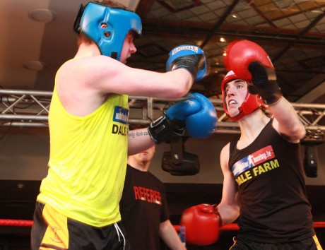 Peter Devine (right) in action against Aidan Simmons.