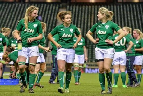 Siobhan Fleming, Larissa Muldoon and Alison Miller leave the pitch after the defeat to England recently.