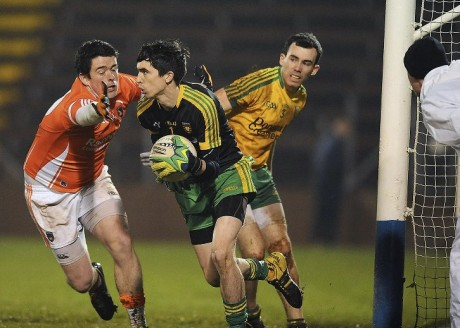 Donegal Under-21 goalkeeper Joe Coll in action during last week's semi-final against Armagh.