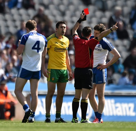 Referee David Gough sends off Rory Kavanagh in the Division 2 final
