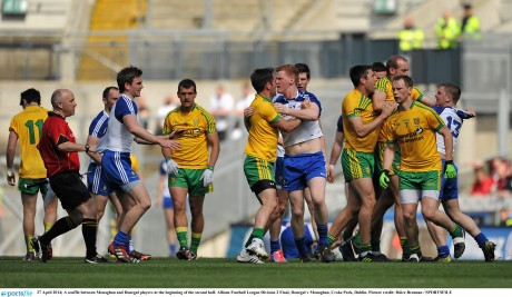 A scuffle between Monaghan and Donegal players at the beginning of the second half.
