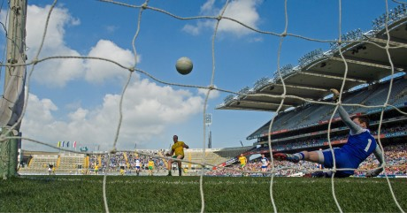 Michael Murphy finds the net with a penalty against Monaghan