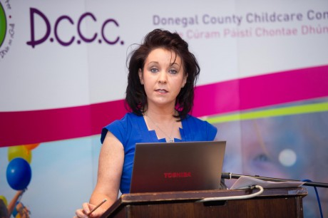 Ms Avril McMonagle speaking at the Donegal County Childcare  Committee briefing for local election candidate's on key issues impacting Children, Parents and Families.  Photo: Clive Wasson