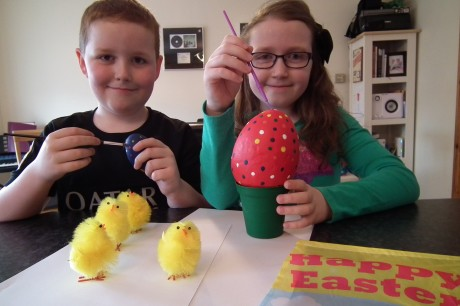 Lee and Zoe get some practice in for the Easter Egg painting workshop this Saturday in Bundoran.