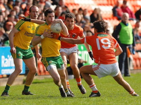 Odhrán MacNiallais on the attack for Donegal against Armagh.