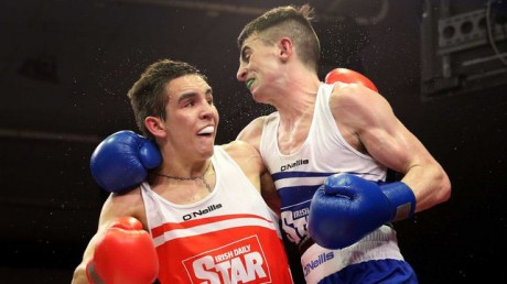 Tyrone McCullagh (Blue) in action during the 2014 Irish senior final against Michael Conlan.