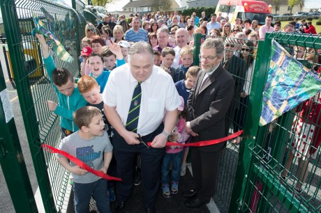 Frank McBrearty offically  opening  the new Raphoe Play Park on Saturday last.   Photo Clive Wasson