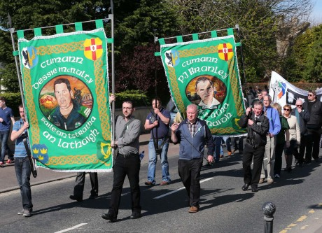 Dessie Mc Nulty and PJ Branley memorial banners on parade during the Drumboe Martyrs Memorial Parade on Sunday.
