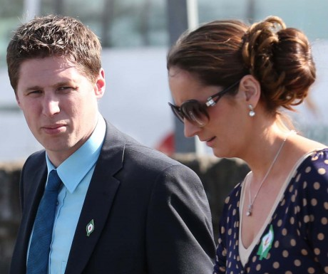 Sinn Fein Euro Candidate 2014 Matt Carthy, who was the main speaker at the Annual Drumboe Martyrs Memorial Parade on Sunday, in discussion with Cllr. Cora Harvey during the parade.