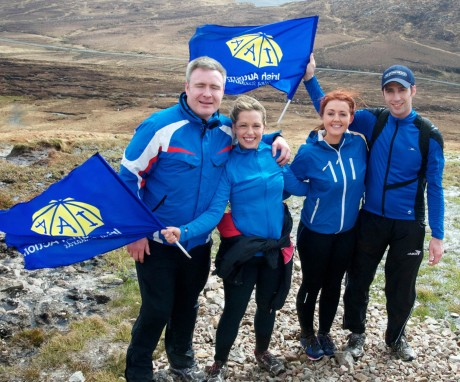 John Gildea, Sharon Gildea, Louise Crossan and John D Rouse on their way to the top of Errigal during yesterday's climb.