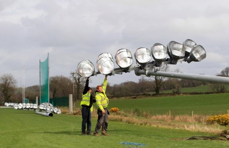 Floodlights being erected at the Donegal GAA Training Centre, Convoy on Wednesday afternoon. Photo: Donna El Assaad