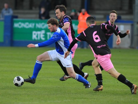 Finn Harps' Pat McCann in action against Shane Dunne of Wexford Youths. Photo: Donna El Assaad