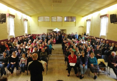 The packed hall in Lettermacaward.