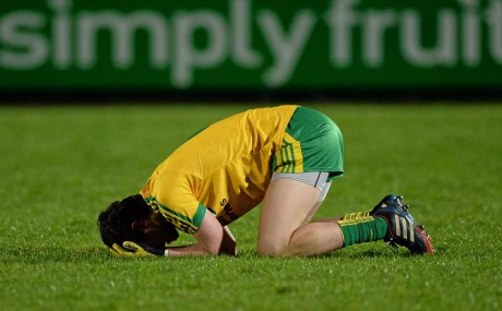 A dejected Eoin McHugh, Donegal, at the final whistle of the Cadbury Ulster GAA Football U21 Championship Final. Picture credit: Oliver McVeigh / SPORTSFILE