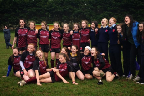 St Columba's celebrate their shoot-out win over Moville in the Ulster final
