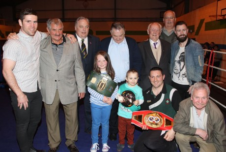 Former undefeated European Champion Paul McCloskey and Former Commonwealth Gold Medalist Eamonn O'Kane with young Christian McCullagh, his sister Rocha, Brendan Ryan, Cllr Frank McBrearty, Frank McBrearty Snr, Hugh Gallagher, Gary McCullagh and Peter O'Donnell at the Raphoe ABC tournament on Saturday night in Deele College.