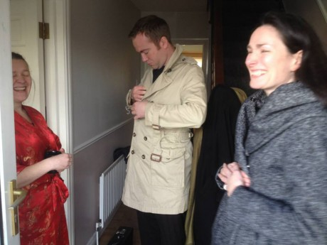 Writer/director Brenda Kelly (right) on set with two cast members, Sinead Gallagher (left) and Aidan O' Sulivan (centre).