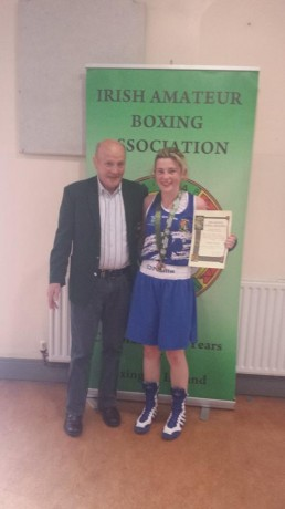 Ciara Anderson after winning the national title, with her grand-father, the former Irish Olympian Brian Anderson senior