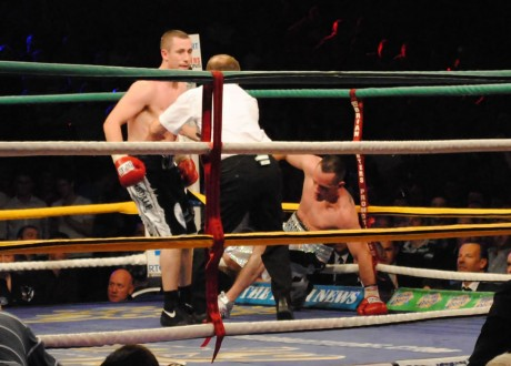 Paul McCloskey knocks Barry Morrison to the canvas to defeat the Scot and successfully defend his European title at the Aura Leisure Centre in 2010.