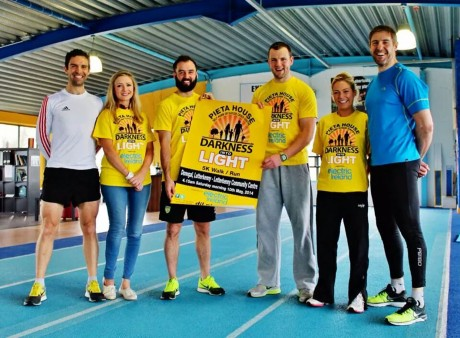 Nikki pictured with her coaches Michael Black and Aoife McGill (Optimal Fitness), Donegal GAA Stars Karl Lacey and Michael Murphy and Everest Summiteer, Jason Black, promoting Darkness Into Light.