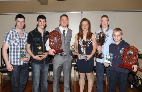 Haul of awards for Finn Valley ABC's top boxers at the annual awards night, from left: Michael Gallagher, Leon Gallagher, Jason Quigley, Austeja Auciute, Orin McDermott and Eoin McGarrell. Photo: Donna El Assaad