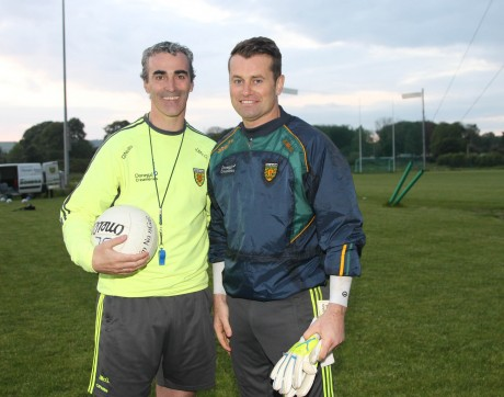 Jim McGuinness with Shay Given who took part in a training session with the Donegal squad. Photo: Donna El Assaad