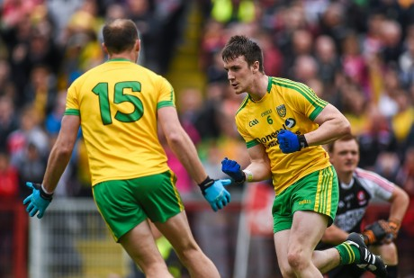 Leo McLoone celebrates his goal for Donegal against Derry in last year's Ulster SFC