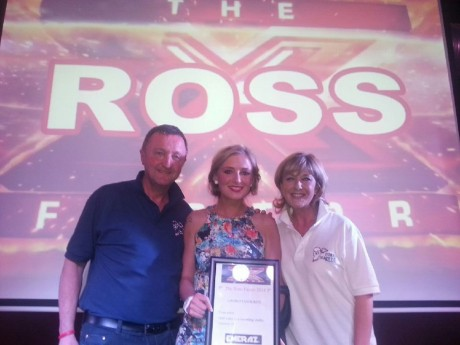 Nikki pictured with the late Ross Nugent's parent's Don and Sandra after winning the Crowd's Choice award in Swords.