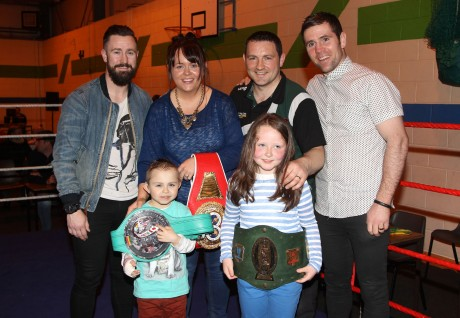 Former undefeated European light-welterweight Champion Paul McCloskey and Former Commonwealth Gold Medalist Eamonn O'Kane with Gary and Alieen McCullagh and their children Christian and Rocha during the Raphoe ABC tournament on Saturday night in Deele College. Photo: Donna El Assaad