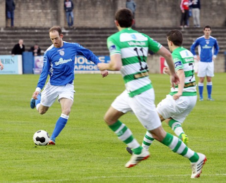 Finn Harps Michael Funston in action against Shamrock Rovers B. Photo: Donna El Assaad