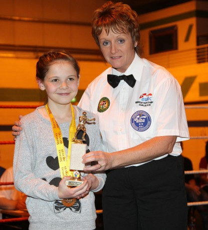 Raphoe's Cody Lafferty with IABA referee Sadie Duffy on Saturday night at the Raphoe ABC tournament. Photo: Donna El Assaad