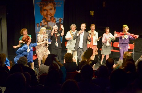 A scene from the show. From left to right: Rosalind Scanlon, Anne McDaid, Siobhan Moore, Maureen Sullivan (the nun) Rita Rose, Anne Fox, Phyliss Carroll and Monica Melia - with Mark Kavanagh (Bonar) playing Daniel O Donnell.