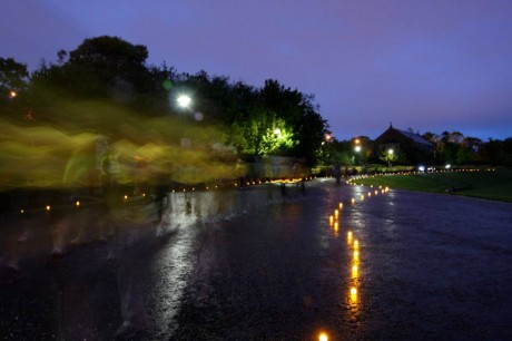 Walkers pass candles of hope in Letterkenny Town Park during last year's event.