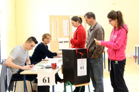 Voters at Ballyraine NS polling station in Letterkenny this morning morning.
